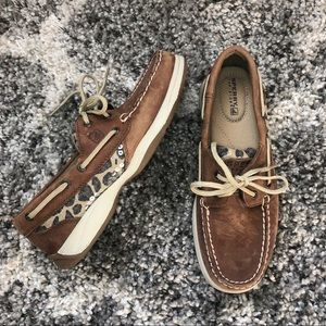 Brown/Tan Sperry Topsider Cheetah Boat Shoes